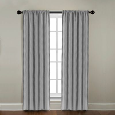 CityLinen Linen 84-Inch Rod Pocket Window Curtain Panel in Gray