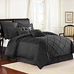 Veratex Diamonte Embroidered 4-Piece Reversible Comforter Set in Black