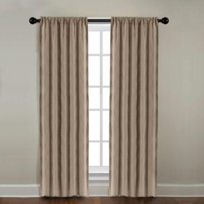 CityLinen Linen 63-Inch Rod Pocket Window Curtain Panel in Khaki