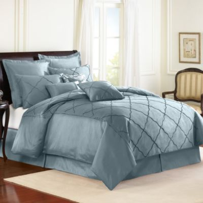 Veratex Diamonte Embroidered 4-Piece Reversible Comforter Set in Mineral