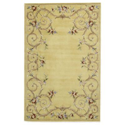 Rugs America Flora 5-Foot x 8-Foot Rug in Sutton Gold