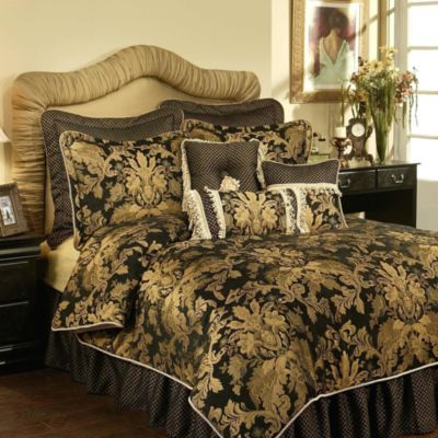 Austin Horn Classics Verona 4-Piece Queen Comforter Set in Black