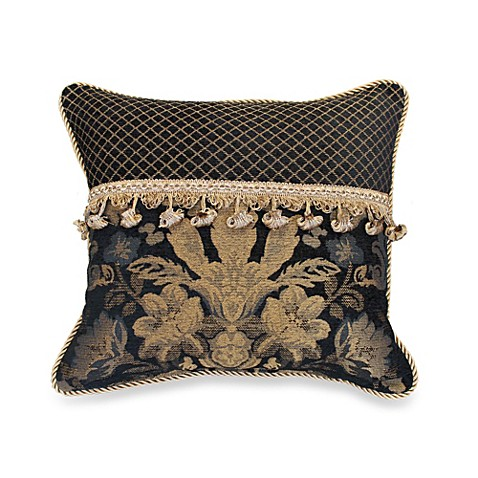 Austin Horn Classics Verona 18-Inch Square Throw Pillow in Black