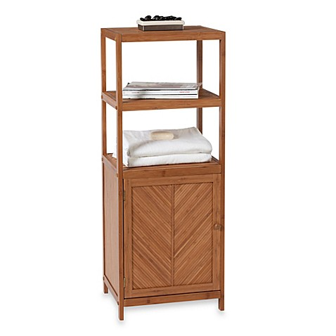 ecostyles bamboo 3 shelf space saver tower with cabinet. Black Bedroom Furniture Sets. Home Design Ideas