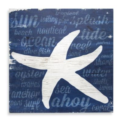 Blue Starfish Coastal Wall Art on Wood