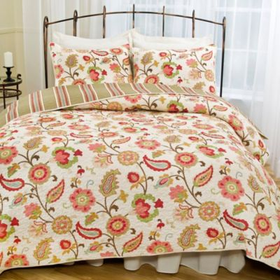 Tapestry Rose Twin Quilt Set