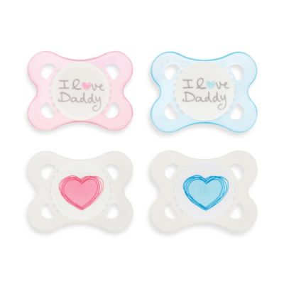 MAM Love & Affection Age 0-6 Months I Love Daddy Pacifier in Pink (2-Pack)
