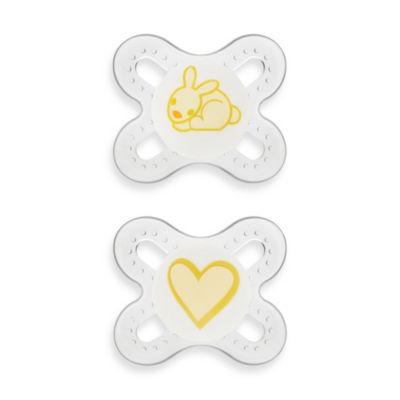 MAM Start Size Newborn to 2 Months Pacifier in Yellow/Clear(2-Pack)
