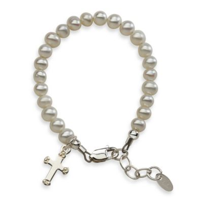 Cherished Moments Small Sterling Silver and Freshwater Pearl Lacey Bracelet