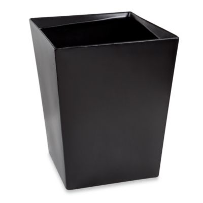 Angles Contemporary Bath Waste Basket in Black