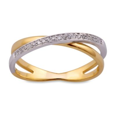Violet and Sienna 14K Yellow Gold .08 cttw Diamond Crossover Size 5 Ring