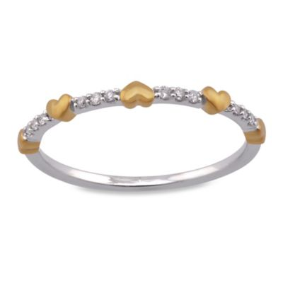 Violet and Sienna 14K Yellow and White Gold .05 cttw Diamond Size 7 Mini Hearts Ring