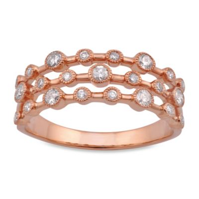 Violet and Sienna 14K Rose Gold 3-Row .37 cttw Diamond Size 7 Ring