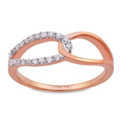 Violet and Sienna 14K Rose Gold 0.15 cttw Diamond Interlocking Size 6 Ring