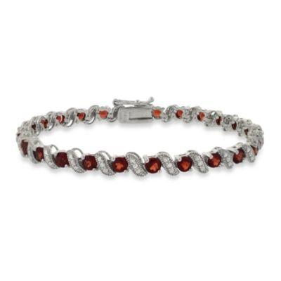 Sterling Silver San Marco 3.5 cttw Garnet Bracelet