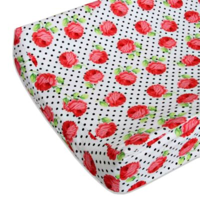 Caden Lane® Girly Coral Rose Changing Pad Cover