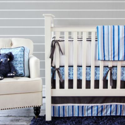 Blue and White Striped Bed Skirt