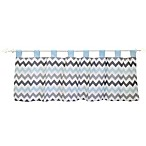 My Baby Sam Chevron Baby Window Valance in Aqua/Grey