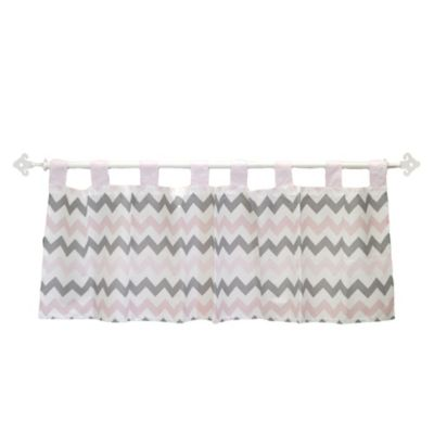 My Baby Sam Chevron Baby Window Valance in Pink/Grey