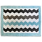 My Baby Sam Chevron Baby Accent Rug in Aqua/Grey
