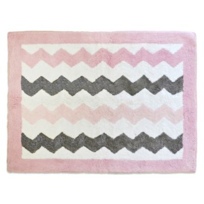 My Baby Sam Chevron Baby Accent Rug in Pink/Grey