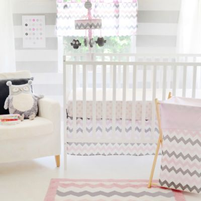 My Baby Sam Chevron Baby 3-Piece Crib Bedding Set in Pink/Grey