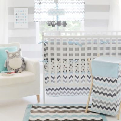 My Baby Sam Chevron Baby Bumper Pads in Aqua/Grey