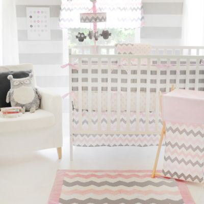 My Baby Sam Chevron Baby Crib Bumper Pads in Pink/Grey