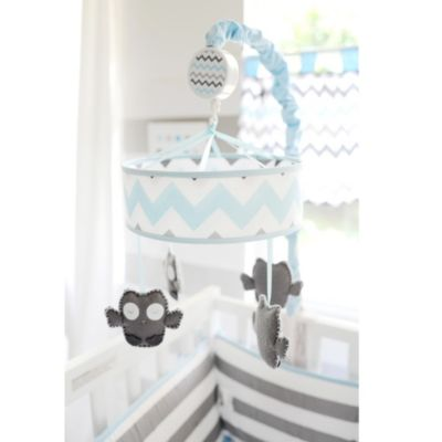 My Baby Sam Chevron Baby Crib Mobile in Aqua/Grey