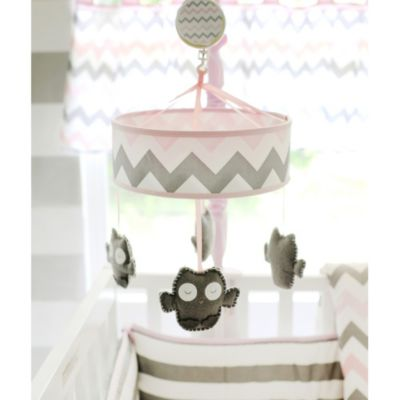 My Baby Sam Chevron Baby Crib Mobile in Pink/Grey