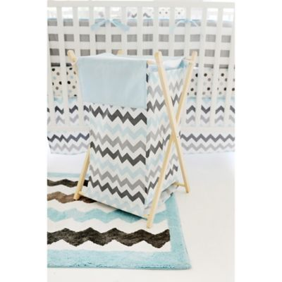 My Baby Sam Chevron Baby Hamper in Aqua/Grey