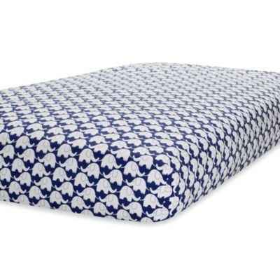 Just Born® Mix & Match Safe Sleep Fitted Crib Sheet in Navy/White Elephant