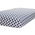 Just Born® Safe Sleep Fitted Crib Sheet in Navy/White Elephant