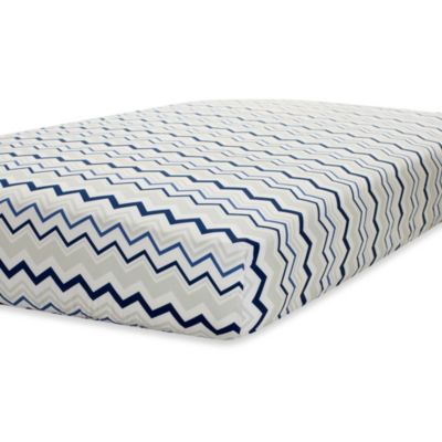 Just Born® Mix & Match Safe Sleep Fitted Crib Sheet in Navy/Grey Chevron