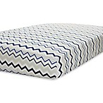 Just Born® Safe Sleep Fitted Crib Sheet in Navy/Grey Chevron