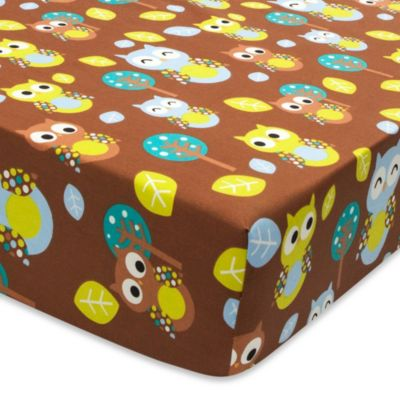 True Baby Tree Tops Fitted Crib Sheet in Owl Print