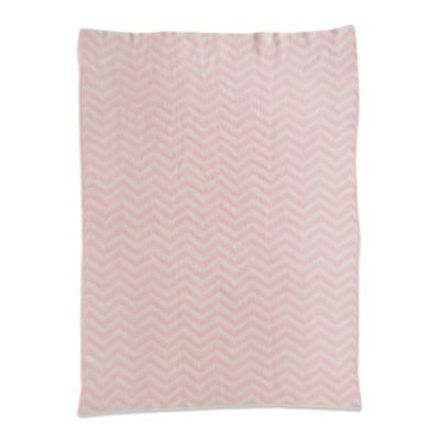 Living Textiles Baby Mix & Match Chenille Chevron Knit Blanket in Pink/White