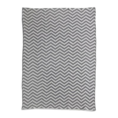 Living Textiles Baby Mix & Match Chenille Chevron Knit Blanket in Grey/White