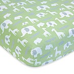 Wendy Bellissimo Unisex Sweet Safari Fitted Crib Sheet in Sage