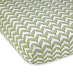 Wendy Bellissimo Unisex Chevron Fitted Crib Sheet in Sage/White