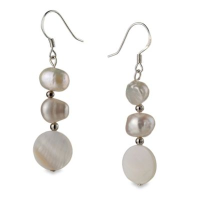 Freshwater Cultured Pearl Keita White Dangle Earrings