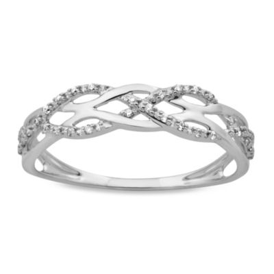 Violet and Sienna 14K White Gold Braided Diamond Ring