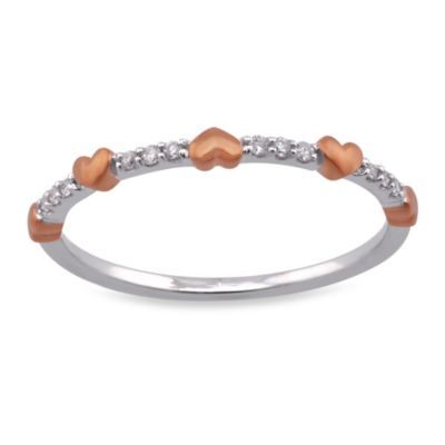 Violet and Sienna 14K White Gold 0.05 cttw Diamond Size 6 Ring with Mini Rose Gold Hearts
