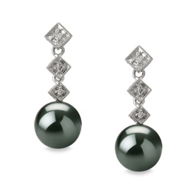 14K White Gold Tahitian Black 8.5 - 9.0mm Pearl & 0.09 cttw Diamond Earrings