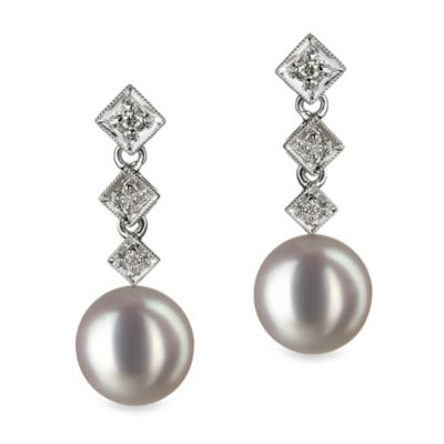 14K White Gold Japanese Akoya White 8.5 - 9.0mm Pearl & 0.09 cttw Diamond Earrings