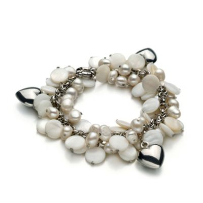White Freshwater Cultured 6.0 - 7.0mm Pearl and Shell Bracelet with Heart Charms
