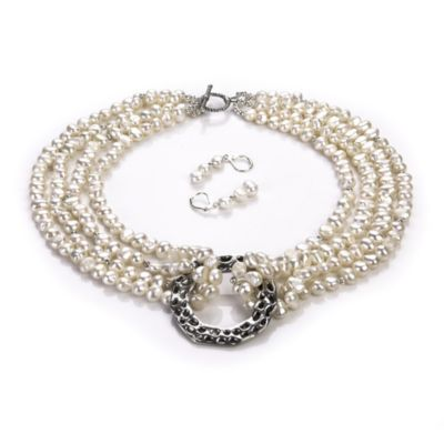 Freshwater Cultured 5.0 - 5.5mm Pearl Necklace and Earring Set in White