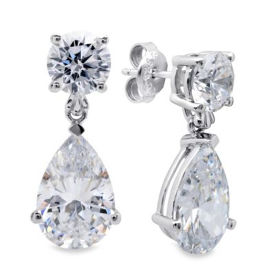 CRISLU Cubic Zirconia Teardrop Earrings