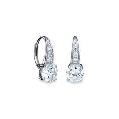 CRISLU Platinum Over Sterling Silver Cubic Zirconia Drop Earrings