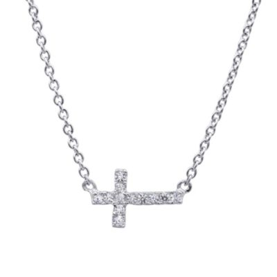 CRISLU Cubic Zirconia Sideways Cross Pendant